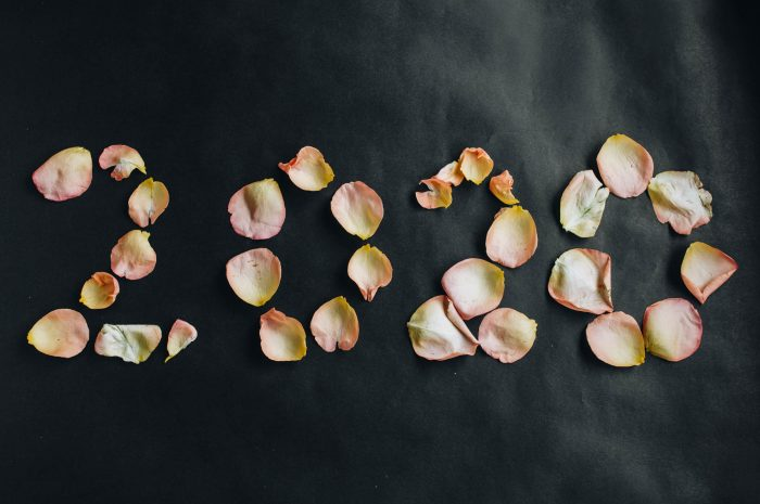 2020 new year. Written with rose petals on dark background.