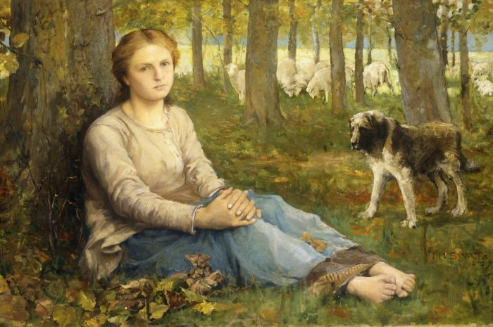 CH658242 A Shepherdess and her Flock, 1878-9 (oil on canvas) by Swan, John Macallan (1847-1910); 64.1x99 cm; Private Collection; (add.info.: A Shepherdess and her Flock. John Macallan Swan (1847-1910). Oil on canvas. Signed and dated 1878-9. 64.1 x 99cm); Photo © Christie's Images; English,  out of copyright