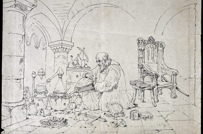 V0025604 Roger Bacon conducting an alchemical experiment in a vaulted Credit: Wellcome Library, London. Wellcome Images images@wellcome.ac.uk http://wellcomeimages.org Roger Bacon conducting an alchemical experiment in a vaulted cloister. Etching by J. Nasmyth, 1845. 1845 By: James NasmythPublished: 1845  Copyrighted work available under Creative Commons Attribution only licence CC BY 4.0 http://creativecommons.org/licenses/by/4.0/